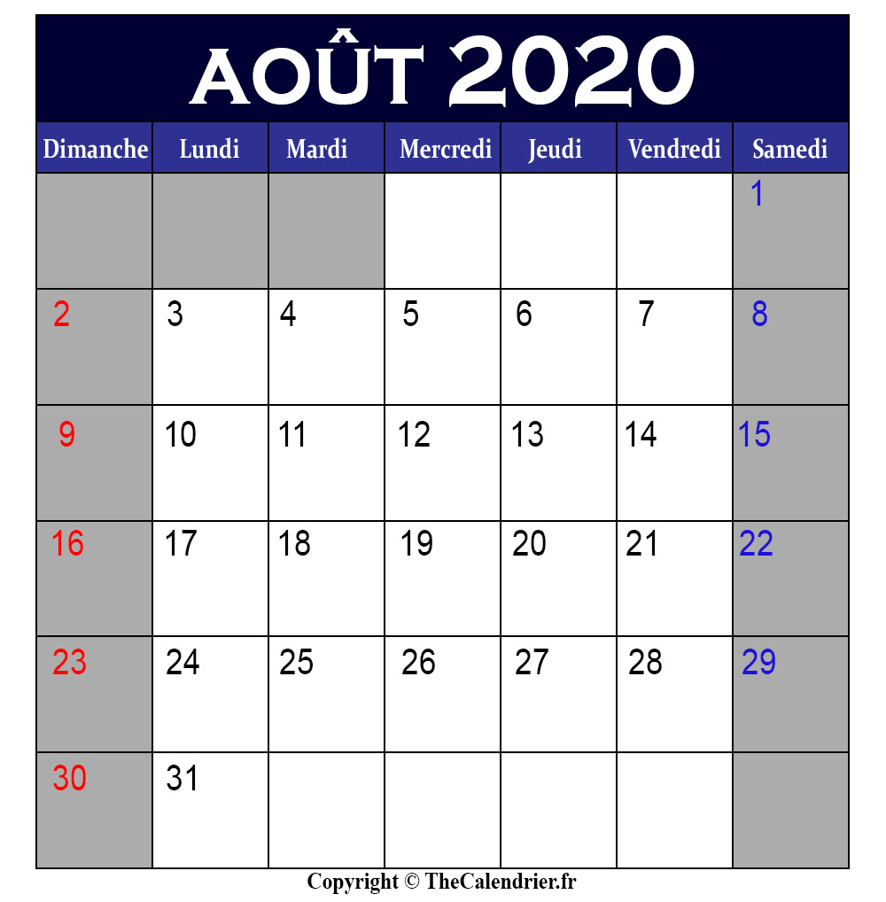 Calendrier 2020 Aout