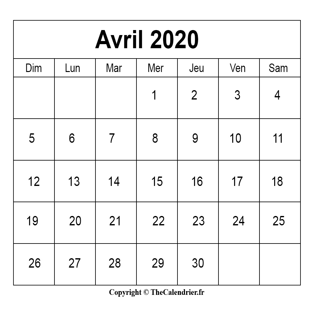 Calendrier Avril 2020 Jours Feries